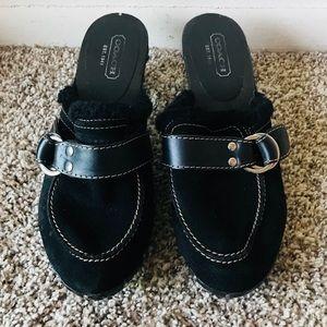 Coach Black Suede Clogs Size 9